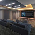 Enhancing view of a theatre room of the Smart Home automated by Delfin Automation Systems